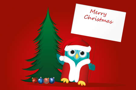 Owl in Santa Claus costume against the background of a Christmas tree, holds an empty poster for your text or advertisement. Illustration