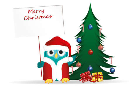 Owl in Santa Claus costume against the background of a Christmas tree with gifts, holds an empty poster for your text or advertisement.