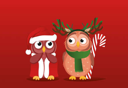 Owlet boy in a deer suit wants to give a Christmas candy gift to a girl in Santa Claus costume. She is embarrassed and waiting. Illustration