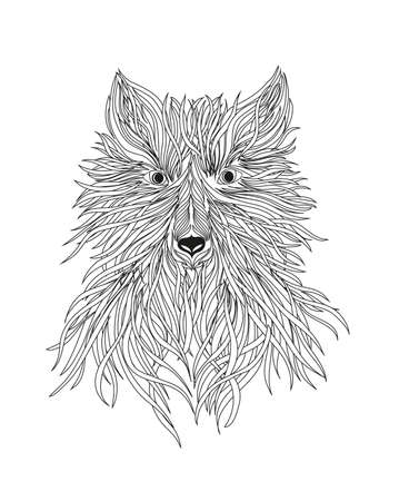 The head of a wolf is a wild beast or dog. Vector. Black and white graphic style.