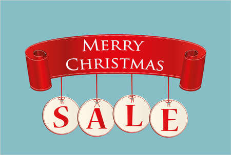 Sale banner with Christmas decorations.