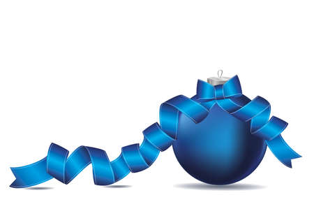 Merry Christmas ball with blue ribbon and bow. Banner with copy space. Vector. Greeting card For a holiday or a party.