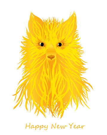 Yellow or gold earth dog. Symbol of the year 2018. Greeting card or invitation for the New Year holiday.