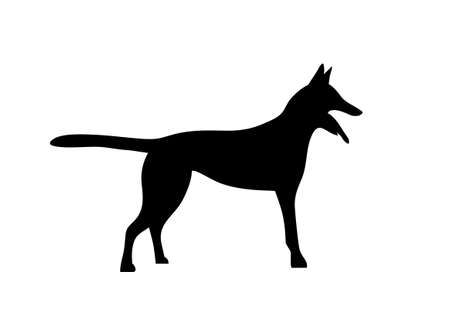 Silhouetted dogs. Belgian Shepherd Dog Malinois. Symbol of the year 2018. Vector. Black and white style. Illustration