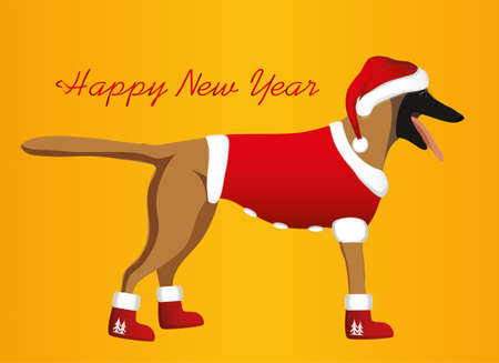 A dog in a New Year costume and a Santa Claus hat. Belgian Shepherd  Malinois. Symbol of the year 2018. Vector. Greeting card or Christmas invitation.