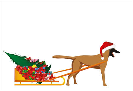 A dog in a Santa Claus hat carries a sleigh with gifts and a Christmas tree for the Christmas holiday. Sheepdog Malinois. Vector. Greeting card or invitation for the new year. Symbol 2018.