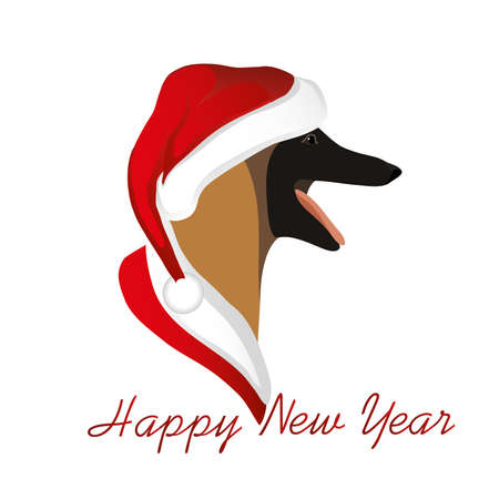 A dog in a New Year in Santa Claus hat. Belgian Shepherd  Malinois. Symbol of the year 2018. Vector. Greeting card or Christmas invitation. Illustration