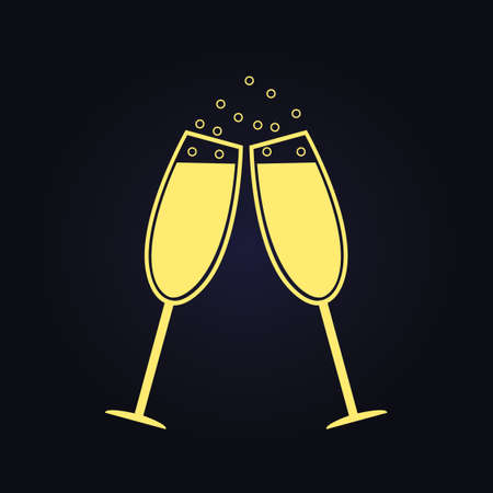Two champagne glasses. Illustration