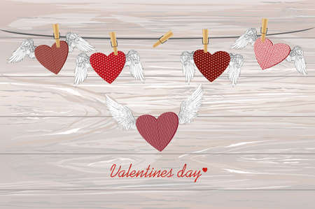 Red heart with wings hanging on the rope and one flying. Pins keep them suspended. St. Valentine's Day. Greeting card. Vector illustration on a wooden background.