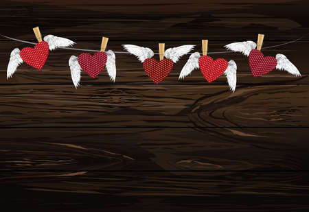 Five Red hearts with wings hanging on a rope. clothes pegs hold it aloft. St. Valentine's Day. Greeting card. Vector illustration on a wooden background.