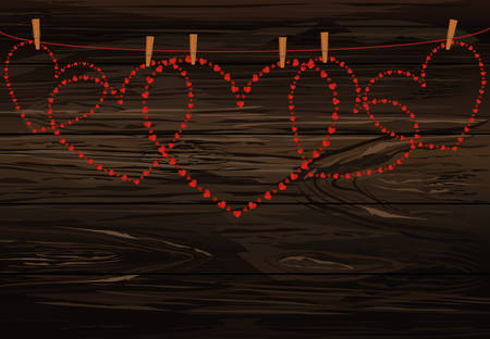 Red hearts hanging on a rope with clothespins. Valentine's Day. Vector illustration. Greeting card with empty space for your label or advertising. On a wooden background.