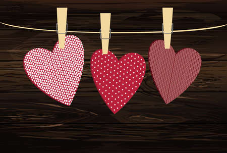 Red hearts  with a picture hanging on a rope. Valentine's Day. Vector illustration. Greeting card with empty space for your label or advertising. On a wooden background.
