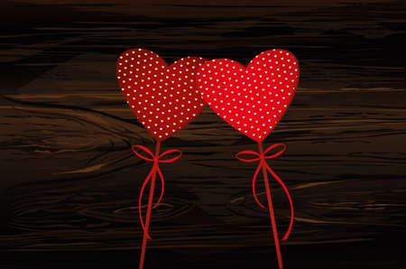 Two red hearts on a stick with bow and ribbon. Valentines Day. Vector illustration. Greeting card with empty space for the text or advertising.