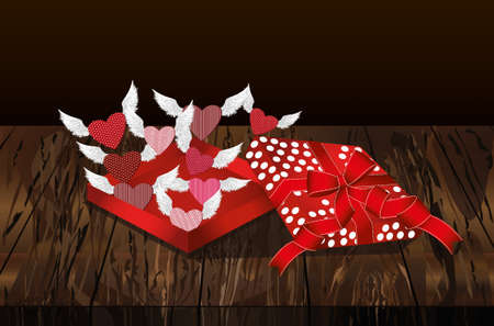 Open gift red box with departing hearts with wings. Valentines Day. Greeting card. Free space vector illustration isolate on a wooden background.