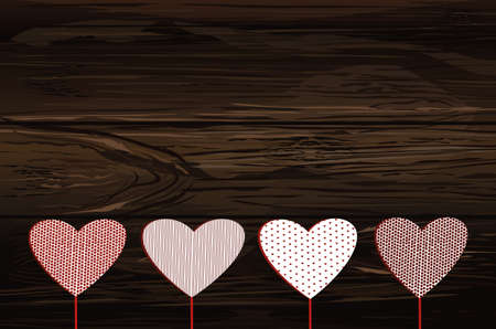 Red hearts on a stick with the image. Valentines Day. Vector illustration. Greeting card with empty space for the label or advertising.