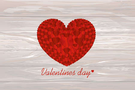 The composition of red hearts.Confetti. Valentines Day. Greeting card. Vector illustration on wooden background.