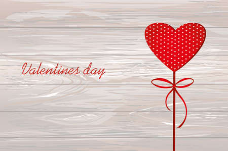 Red heart on a stick with the image. Valentines Day. Vector illustration. Greeting card with empty space for the label or advertising.