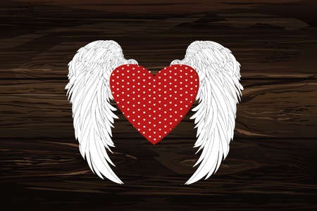 Design red heart with wings. Vector illustration on a wooden background.