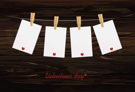 Four blank paper with red heart hanging on the clothesline. Free space for your writing or advertising. St. Valentines Day. Greeting card. Vector illustration on a wooden background. Illustration