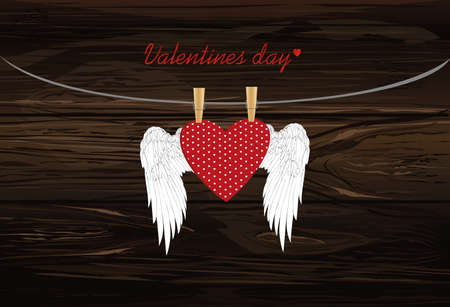 Red heart with wings hanging on a rope. clothes pegs hold it aloft. St. Valentines Day. Greeting card. Vector illustration on a wooden background.