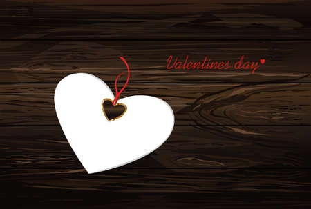 Paper heart with a red bow and ribbon. Valentines Day. Greeting card. Empty space for your ad or inscriptions. Vector illustration on a wooden background.