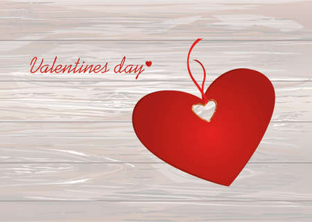 Paper heart with a red bow and ribbon. Valentines Day. Greeting card. Empty space for your ad or inscriptions. Vector illustration on a wooden background