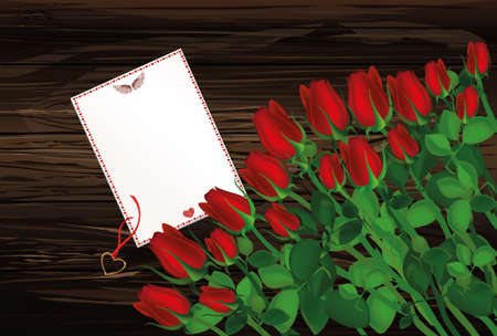 Beautiful red flowers. Roses with blank and gift Pendant in the shape of a heart. Golden necklace. Empty space for your ad or inscriptions or messages. Postcard on Valentines wedding and birthday. Free place. Vector illustration on a wooden background.