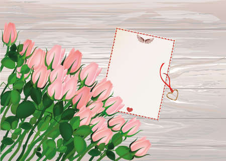 Beautiful pink flowers. Roses with blank and gift Pendant in the shape of a heart. Golden necklace. Empty space for your ad or inscriptions or messages. Postcard on Valentines wedding and birthday. Free place. Vector illustration on a wooden background.  Illustration