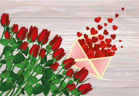 Beautiful red flowers. Roses with Open envelope with departing red hearts. Empty space for your ad or inscriptions or messages. Gift on Valentines wedding and birthday. Free place. Vector illustration on a wooden background.