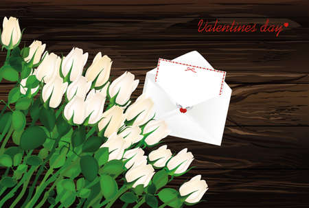 Beautiful  white flowers. Roses with envelope and hearts. Empty space for your ad or inscriptions or messages. Postcard on Valentines wedding and birthday. Free place. Vector illustration on a wooden background.
