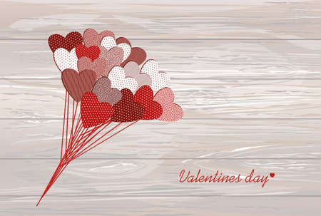 Bouquet of flowers in a heart shape. Greeting card for Valentines Day. Vector illustration. Empty space for your ad or text.  On a wooden background.