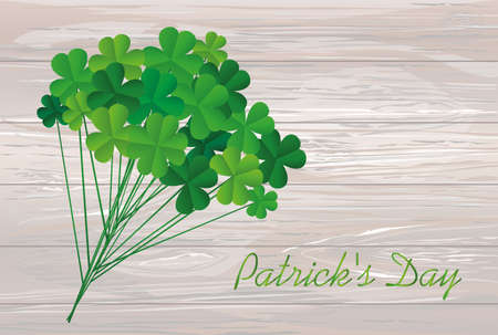 Clover bouquet on sticks. Greeting otkryka on St. Patricks Day. Irish holiday. Free space for your text or advertisement. Vector illustration on a wooden background.
