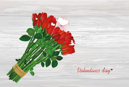Bouquet of red flowers. Roses tied with a rope with envelope and blank and hearts. Empty space for your ad or inscriptions or messages. Postcard on Valentines wedding and birthday. Free place. Vector illustration on a wooden background.