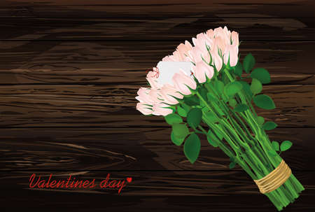 Bouquet of pink flowers. Roses tied with a rope with envelope and blank and hearts. Empty space for your ad or inscriptions or messages. Postcard on Valentines wedding and birthday. Free place. Vector illustration on a wooden background. Illustration