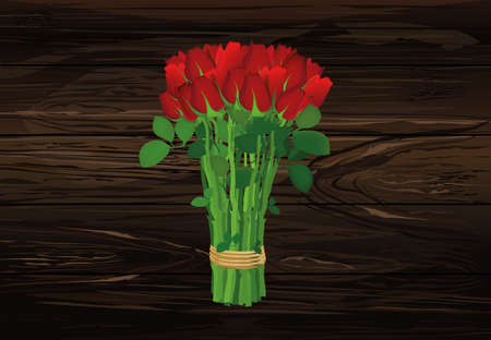 Bouquet of red flowers. Roses tied with a rope. Greeting card for Valentines Day wedding and birthday. Empty space for your text or advertisement. Vector illustration on a wooden background.