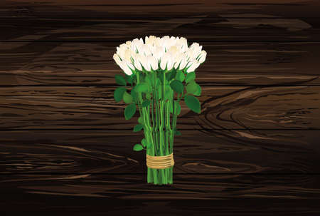Bouquet of white flowers. Roses tied with a rope. Greeting card for Valentines Day wedding and birthday. Empty space for your text or advertisement. Vector illustration on a wooden background.