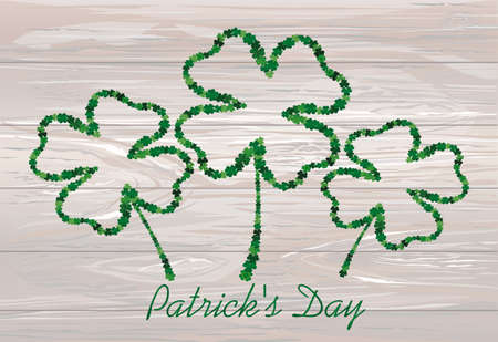 four-leaf. the contour of the clover.  St.Patrick s Day. Vector illustration. Greeting card with empty space for text or advertising. On wooden background.