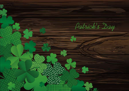 Many decorative clover. A pile of multicolored trelistnikov are on the table.St.Patrick s Day. Vector illustration. Greeting card with empty space for text or advertising. On a wooden background.