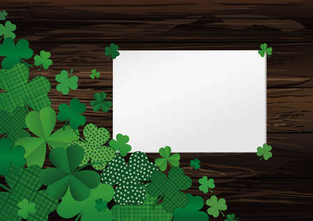 Many breeds of clover on the table. Empty blank sheet for advertising or text. Greeting card for St. Patricks Day celebration. Vector illustration on a  wooden background.