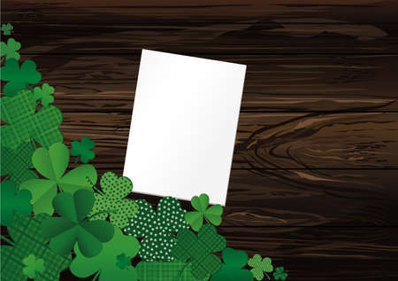 Many breeds of clover on the table. Empty blank sheet for advertising or text. Greeting card for St. Patricks Day celebration. Vector illustration on a  wooden background