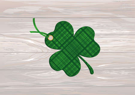 Decorated with a clover pattern tied with green ribbon. St.Patrick s Day. Vector illustration. Greeting card with empty space for text or advertising. On a wooden background. Illustration