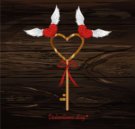The Magic Key from heart. Birds pick it up. Valentine's Day. Greeting card. Vector illustration on a wooden background.