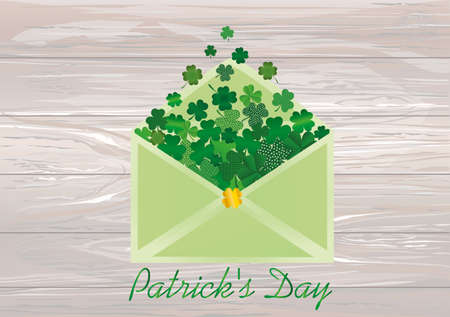 Envelope with green clover inside. St.Patrick s Day. Vector illustration. Greeting card with empty space for text or advertising. On wooden background.