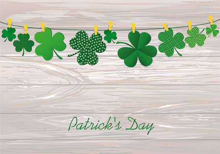 Petals of decorative clover four-leaf hanging on a rope with clothespins. St.Patrick s Day. Vector illustration. Greeting card with empty space for text or advertising. On a wooden background.
