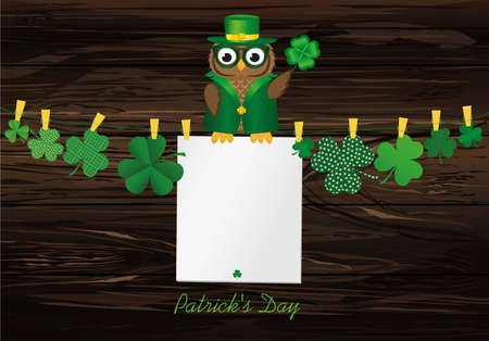 Owl in the national costume for the day Patrick is sitting on a rope hanging from the Petals of clover with a paper blank with clothespins. Vector illustration. Greeting card with empty space for text or advertising.