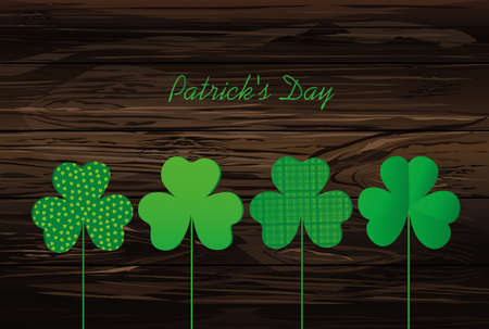 Petals of clover with the image on sticks. pozdavitelnaya card for St. Patricks Day with a blank space for text or advertising. Vector illustration on a wooden background. Illustration