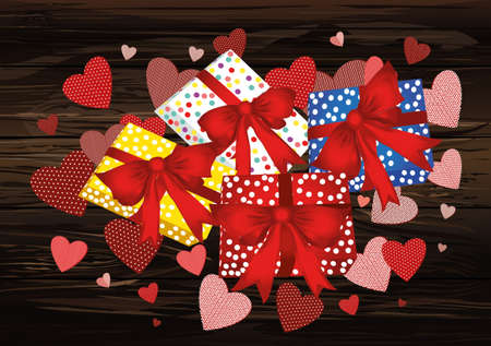 Gift boxes  with a red bows and ribbons on a background of hearts. Card for Valentines Day. Empty space for your advertising. Vector illustration on wooden background. Illustration