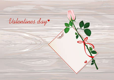 One pink flower with red bow and ribbon and with empty blank card for message or text. Rose. Greeting card for Valentines Day wedding and birthday. Empty space for your text or advertisement. Vector illustration on wooden background.