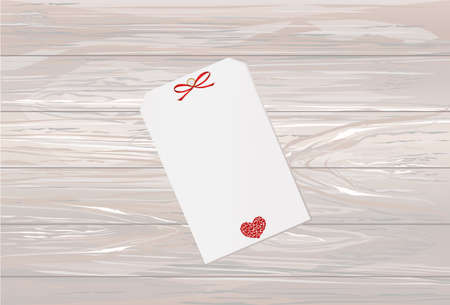 Gift card tied with a red heart. Vector. Valentines Day. On wooden background Greeting card for the holiday. Illustration