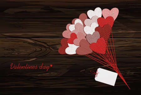 Bouquet of flowers in a heart shape and greeting card for Valentines Day. Vector illustration. Empty space for your ad or text.  On a wooden background.